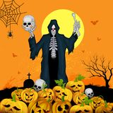 Skelton with pumpkin in Halloween night Stock Photo