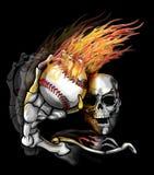 Skelton Throwing Flaming Baseball. Skeleton Throwing a Flaming Baseball Stock Photo