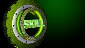 skenkugghjul för gräsplan 3D med ordexpertis Affärsidé kopieringsutrymme framförande 3d royaltyfri illustrationer