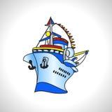 Skepp för kryssning för barnillustrationteknik stort royaltyfri illustrationer