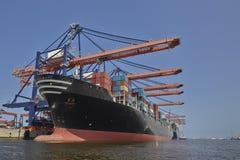 Skepp för Rotterdam portbehållare Arkivfoto