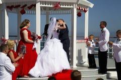 Skepp för sommarbröllop ombord Royaltyfri Bild