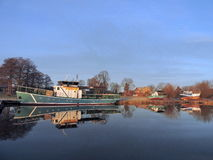 Skepp i den Rusne marina, Litauen Royaltyfri Bild