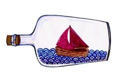 Skepp i en flaskvattenfärgillustration stock illustrationer