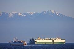 Skepp i Haro Strait arkivbild