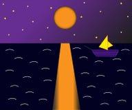Skepp i natten vektor illustrationer
