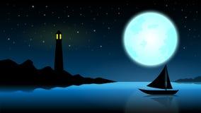 Skepp i natten av fullmånen; blått hav med fyren på mitt- royaltyfri illustrationer