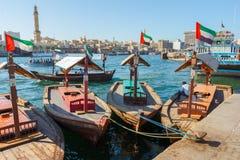 Skepp i Port Said i Dubai, UAE Royaltyfria Foton