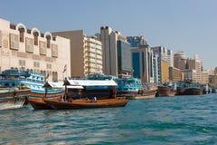 Skepp i Port Said i Dubai, UAE Arkivbild