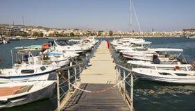 Skepp i porten av Rethymnon.Krete Royaltyfri Fotografi