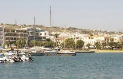 Skepp i porten av Rethymnon.Krete Arkivbild