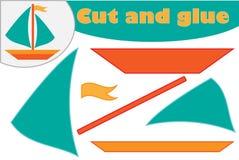 Skepp i tecknad filmstil, utbildningslek för utvecklingen av förskole- barn, brukssax och lim som skapar appliquen, snitt vektor illustrationer