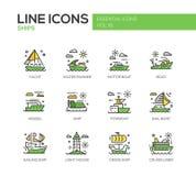 Skepp - linje designsymbolsuppsättning stock illustrationer