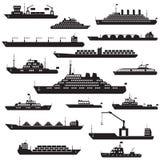 Skepp- och fartygsymbolsuppsättning Arkivfoto