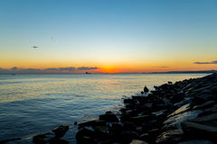 Skepp och solnedgång Royaltyfri Fotografi