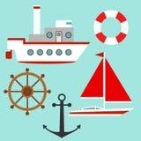 Skepp och yacht vektor illustrationer