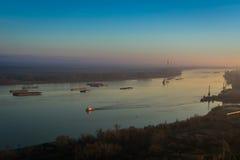 Skepp på Donauen, Rumänien arkivfoto