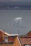 Skepp på floden Tejo (Lissabon) Royaltyfri Foto