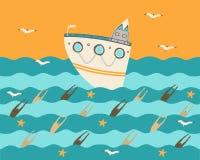Skepp på havet på solnedgången med seagullsna royaltyfri illustrationer