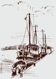 Skepp på hytten vektor illustrationer