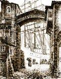 Skepp på pir i gammal stad royaltyfria foton