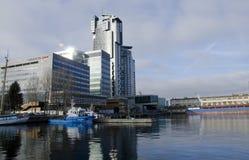 Skepp på porten av Gdynia Arkivbilder