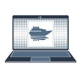 Skepp på skärmbärbara datorn Royaltyfri Foto