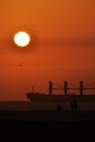 Skepp på solnedgången Arkivbild