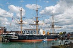 Skepp Portsmouth UK för HMS-krigaremuseum Fotografering för Bildbyråer