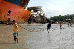 Skepp som bryter i Bangladesh Arkivbilder