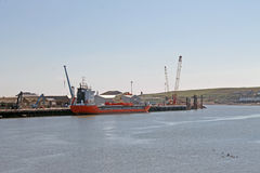 Skepp som förtöjas i Montrose port Skottland Fotografering för Bildbyråer