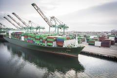 Skepp som härbärgeras på port av San Pedro, Kalifornien, U S A arkivbilder