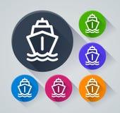Skeppcirkelsymboler med skugga Arkivbild