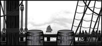 Skeppdäck med trummor och rep Arkivfoto