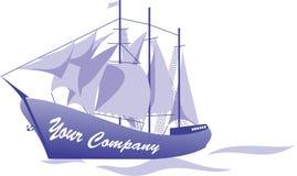 Skeppdesign Logo Vector royaltyfri illustrationer