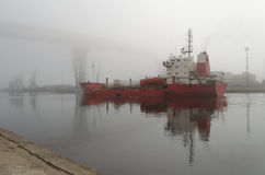 Skeppet ankom i port Royaltyfri Bild