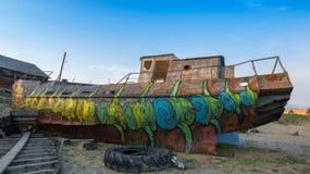 Skeppet målas i grafittistil Arkivfoton