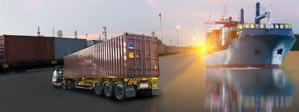 Skeppet med behållaredrevet och lastbilimporten exporterar Royaltyfria Bilder