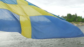 skeppet med svensk sjunker inflyttningsolnedgången, stockholm, Sverige arkivfilmer