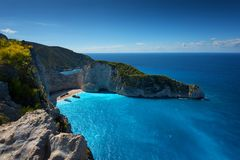 Skepphaveristrand och Navagio fjärd Den mest berömda naturliga gränsmärket av Zakynthos, grekisk ö i det Ionian havet arkivfoto