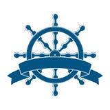 Skepphjul med banret. Nautiskt emblem royaltyfri illustrationer