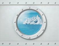 Skepphyttventil med isberget i havet bak det illustration 3d fotografering för bildbyråer