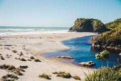 Skeppliten vik, Haast, västkusten, Nya Zeeland Arkivbild