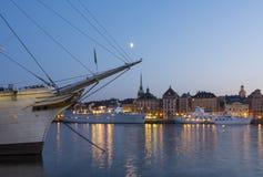 Skeppsbron Stockholm old town twilight Stock Image