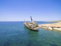 Skeppsbrott EDRO III, Pegeia, Paphos Arkivbilder