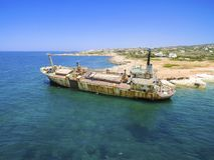 Skeppsbrott EDRO III, Pegeia, Paphos Royaltyfri Bild