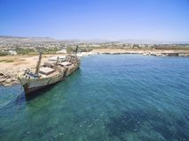 Skeppsbrott EDRO III, Pegeia, Paphos Royaltyfria Foton