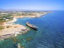 Skeppsbrott EDRO III, Pegeia, Paphos Royaltyfria Bilder