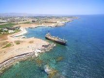 Skeppsbrott EDRO III, Pegeia, Paphos Arkivbild