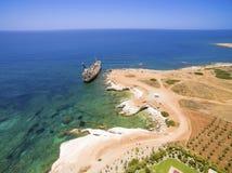 Skeppsbrott EDRO III, Pegeia, Paphos Royaltyfri Foto